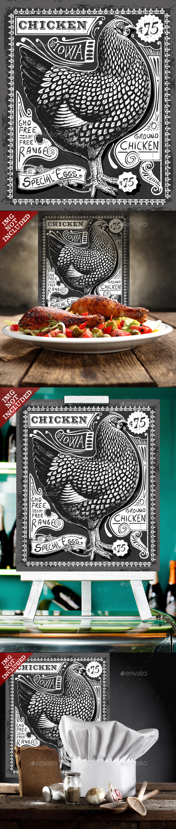 GraphicRiver Vintage Poultry and Eggs Advertising on Blackboard 9980600