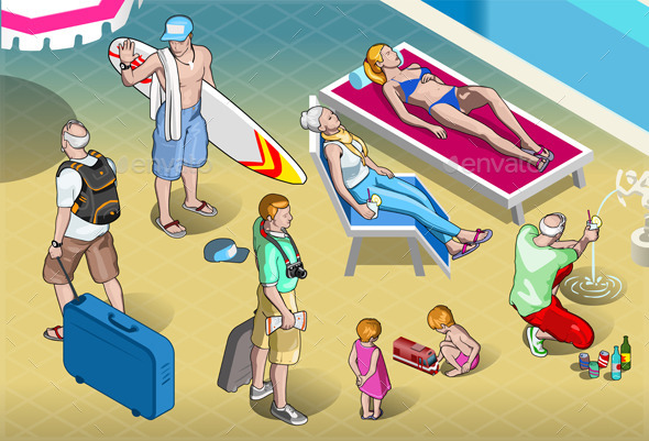 GraphicRiver Isometric Tourists Peoples Set at Resort 9980710