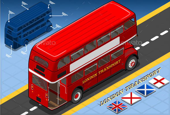 Isometric Double Decker Bus in Rear View