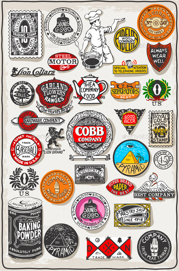 GraphicRiver Thirty Three Vintage Symbols Set 9981108