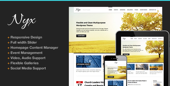 Nyx Responsive Church Wordpress Theme - Churches Nonprofit