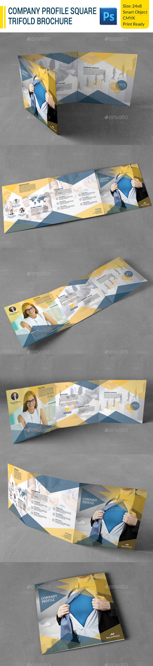GraphicRiver Company Profile Square Trifold Brochure 9981846