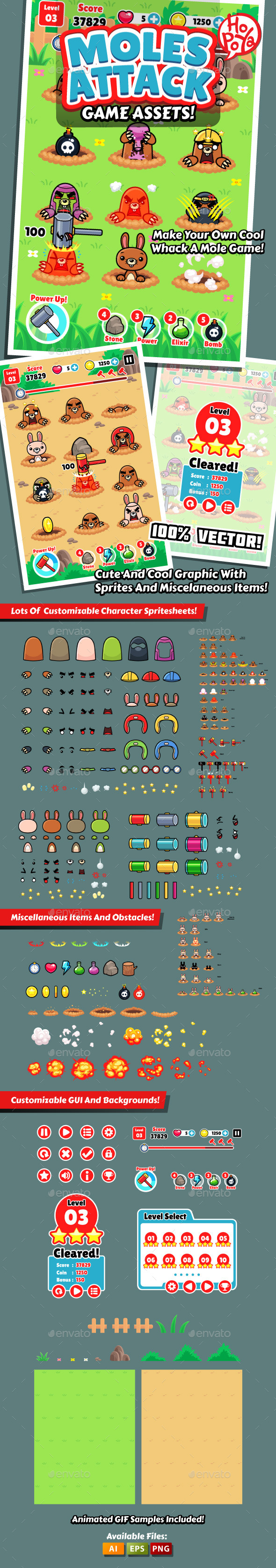 GraphicRiver Moles Attack Game Assets 9982123