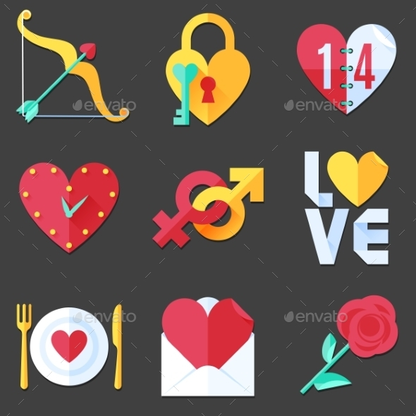 GraphicRiver Flat Love Icons 9982773