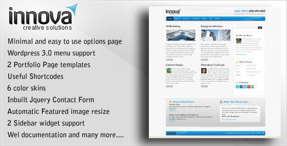 ThemeForest innova WP CMS Theme for clean looking websites 75568