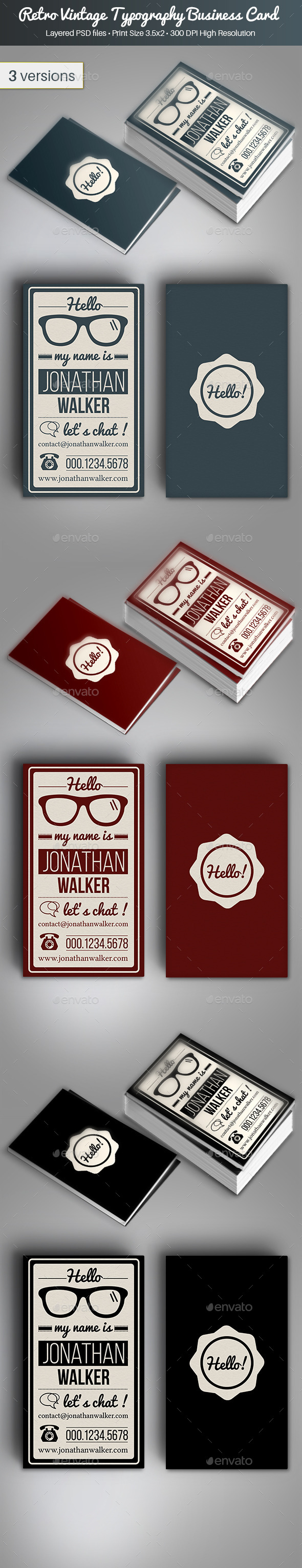 GraphicRiver Retro Vintage Typography Business Card 9983492