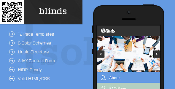 ThemeForest blinds Mobile HTML CSS Portfolio Template 9983585