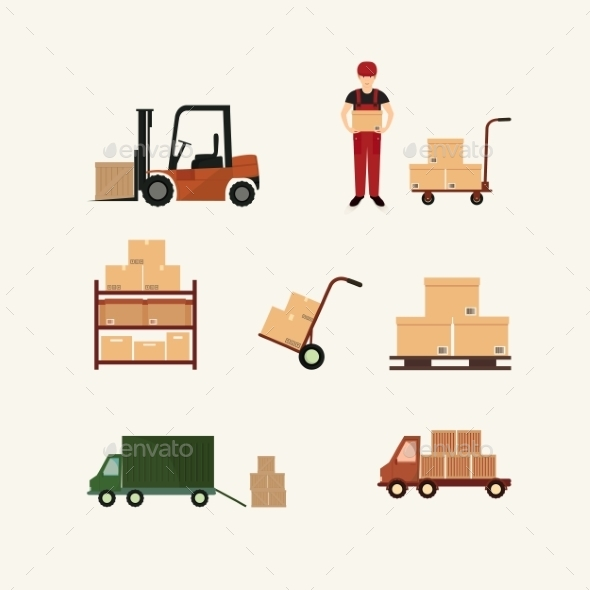 GraphicRiver Warehouse Transportation and Delivery Icons 9983700
