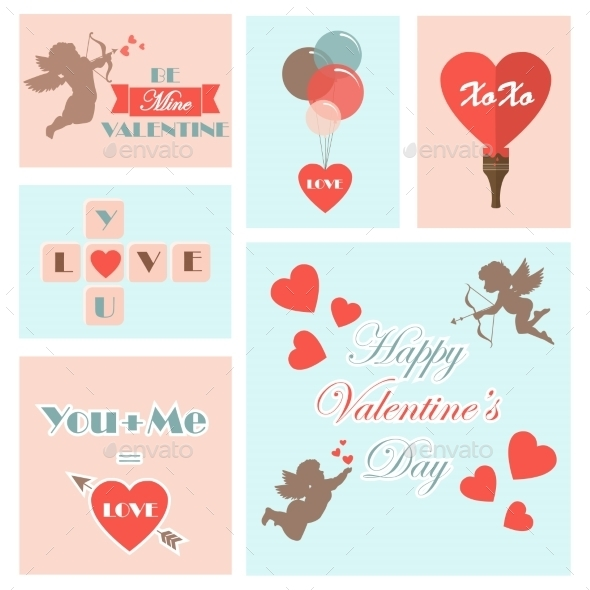 GraphicRiver Set of Valentine s Cards 9984072