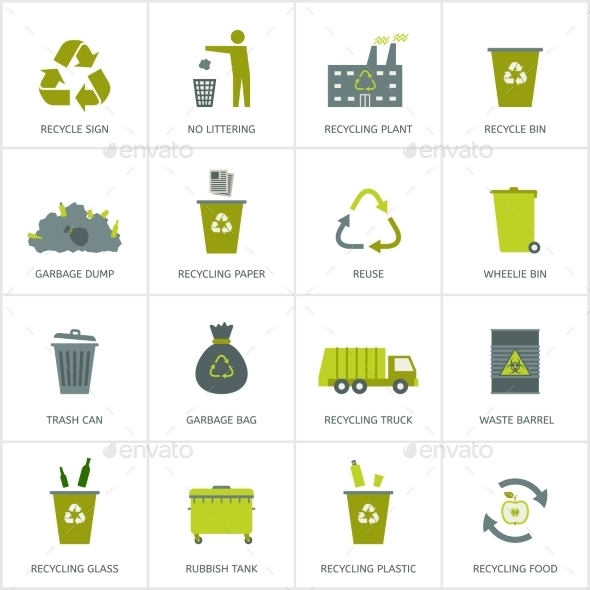 GraphicRiver Recycling Garbage Icons Set 9984270