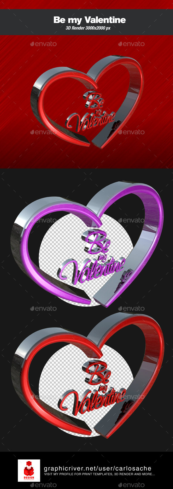 Be my Valentine 3D Render Text