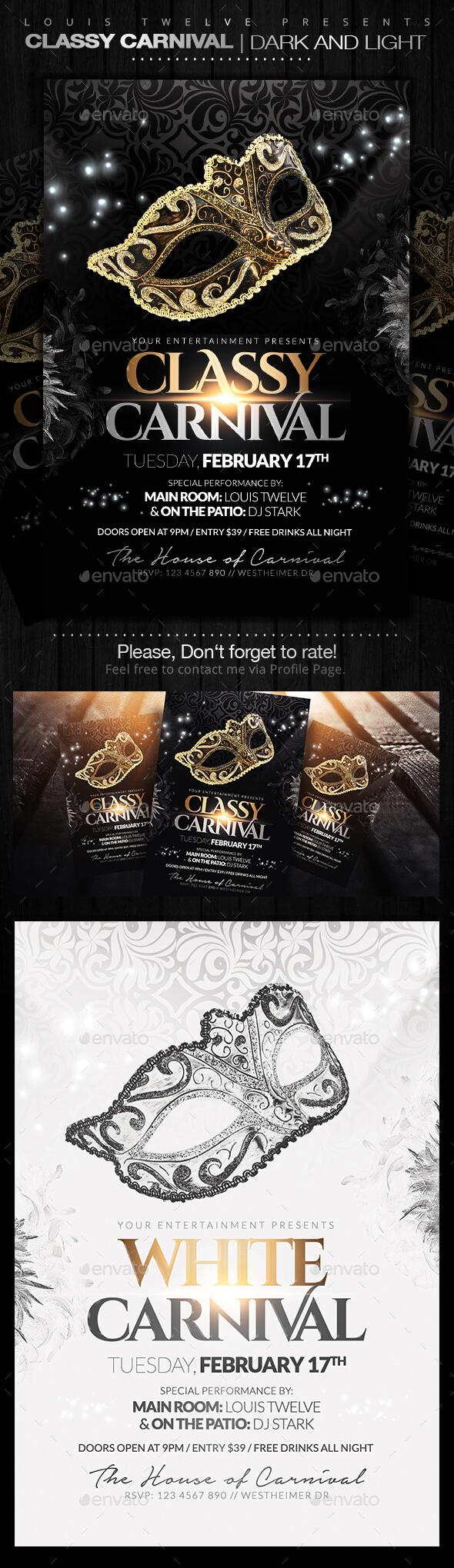 GraphicRiver Classy Carnival or Masquerade Ball Flyers 9984794
