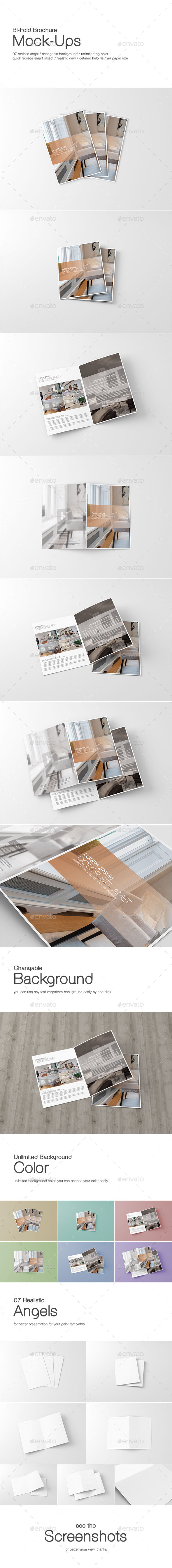GraphicRiver A4 Bi-Fold Brochure Mock-Ups 9986418