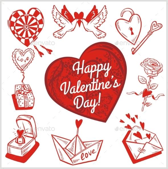 GraphicRiver Valentines Day Set 9986857