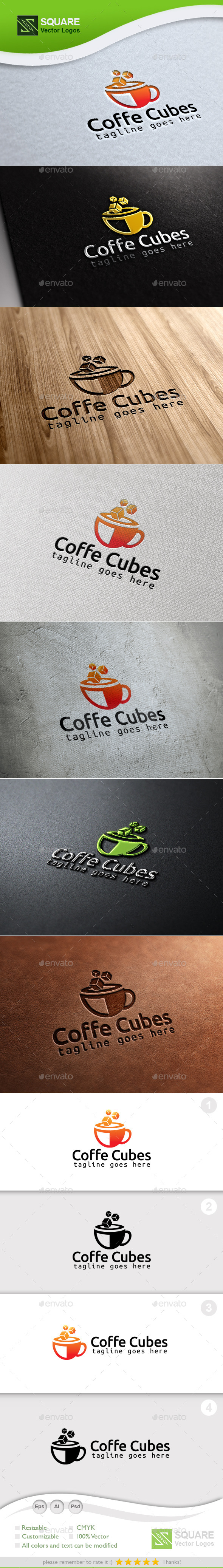 GraphicRiver Coffee Cubes Custom Logo Template 9987249