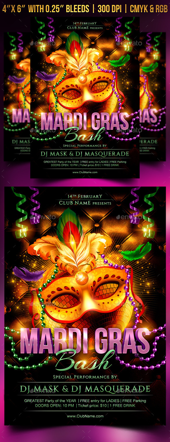 GraphicRiver Mardi Gras Bash Flyer Template 9987586