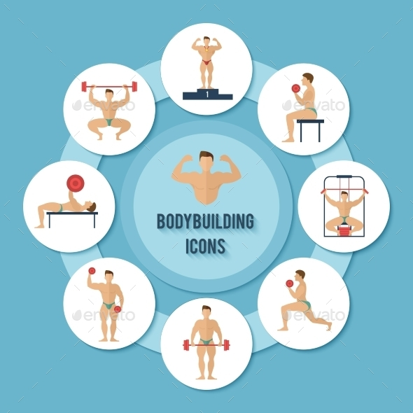 GraphicRiver Bodybuilding Icons Set 9988385