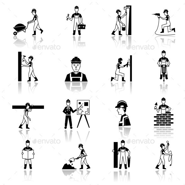 GraphicRiver Construction Worker Icons 9988580