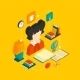 Reading Concept Isometric - GraphicRiver Item for Sale
