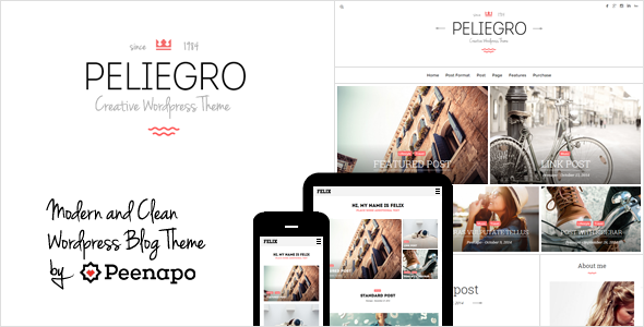 ThemeForest Peliegro Clean Personal WordPress Blog Theme 9810677