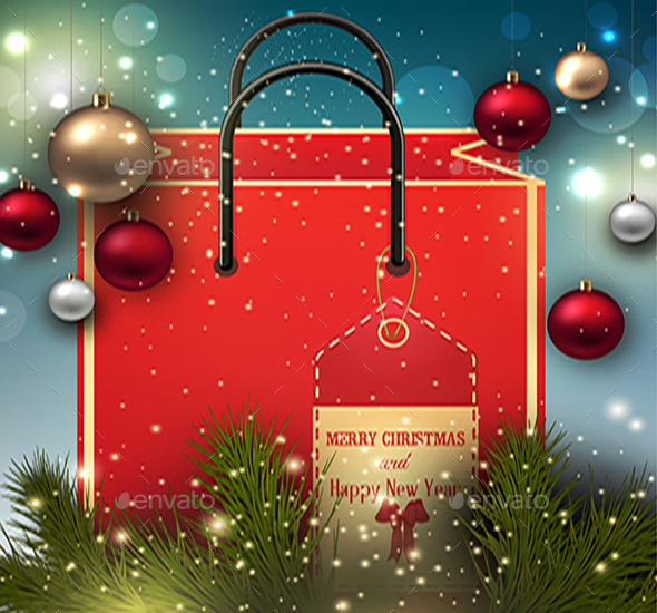 GraphicRiver Christmas Background with Present Bag 9810871