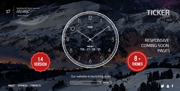 TICKER: Responsive Countdown Clock Landing Page  - Under Construction Specialty Pages