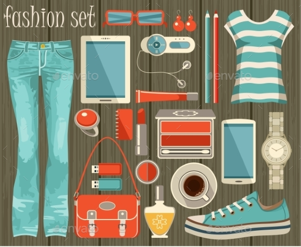 GraphicRiver Fashion Set in a Style Flat Design 9989778