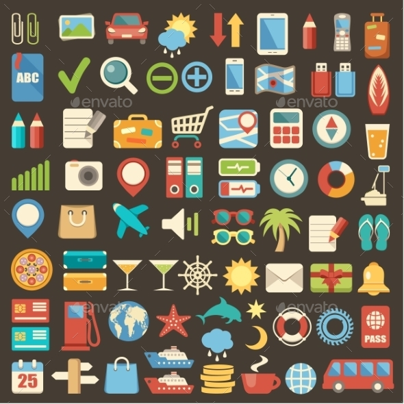 GraphicRiver Flat Icon Set 9989780