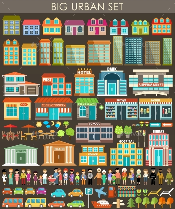 GraphicRiver Urban City Set 9989789