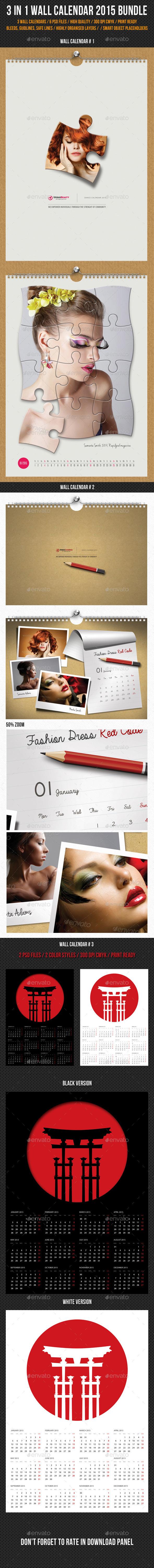 GraphicRiver 3 in 1 Wall Calendar 2015 Bundle V11 9989814