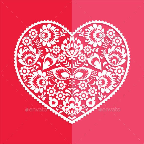 GraphicRiver Valentine s Day Card Polish Folk Art Heart 9989844