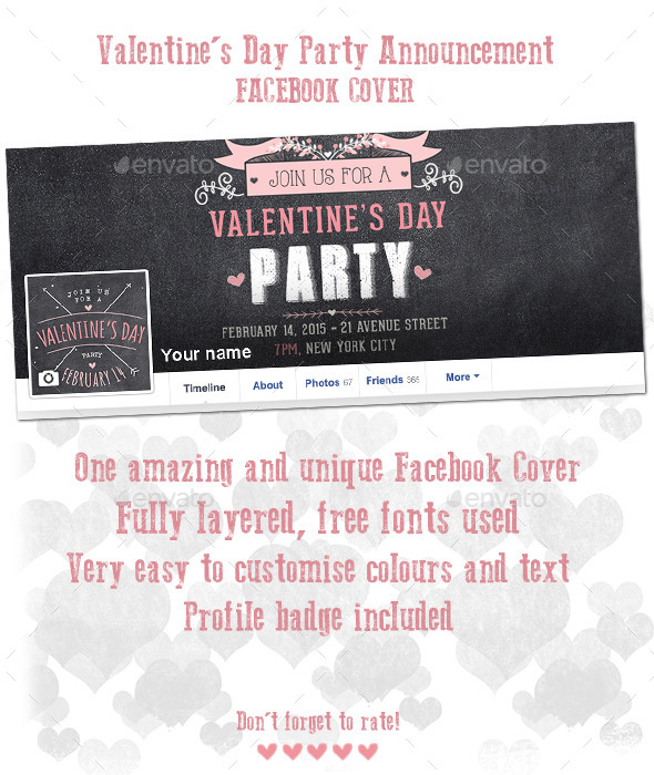 Valentine s Day Party Announcement Facebook Cover