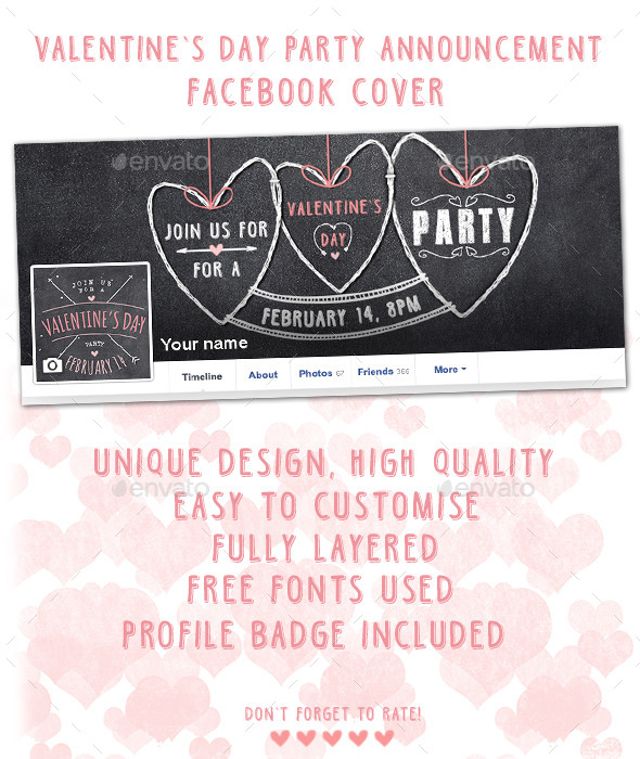 GraphicRiver Valentine s Day Party Facebook Cover 9989922