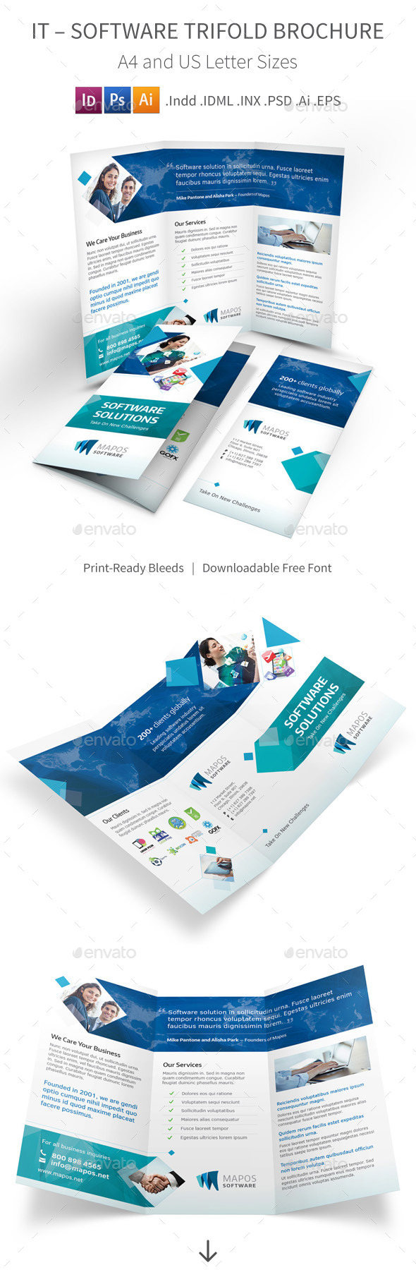 GraphicRiver IT Software Trifold Brochure 9989957