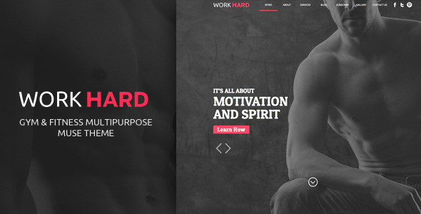 ThemeForest Work Hard One Page Muse Template 9917248