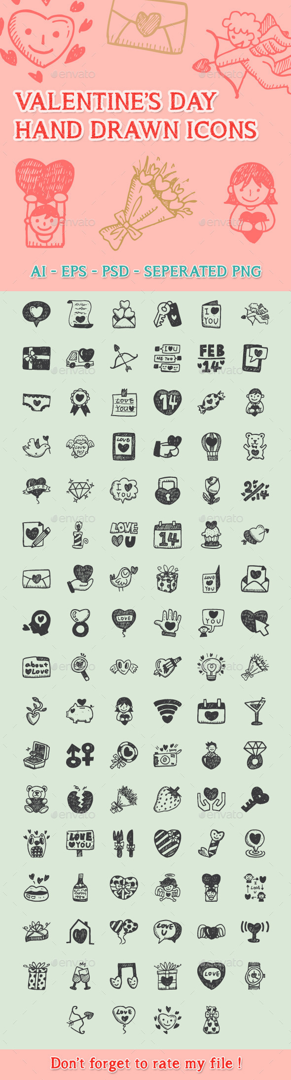 GraphicRiver Love Hand Drawn Icons 9990735