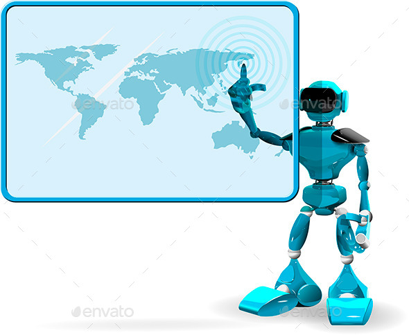 GraphicRiver Blue Robot and Screen 9990764