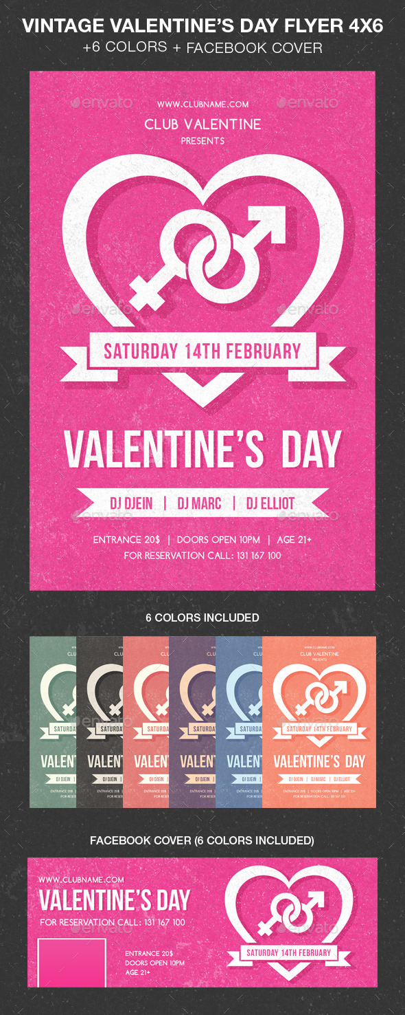 Vintage Valentine Day Party Flyer