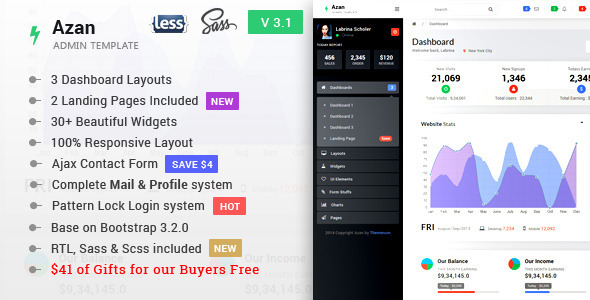 Azan - Bootstrap Responsive Admin Template + 2 Landing Pages - Admin Templates Site Templates