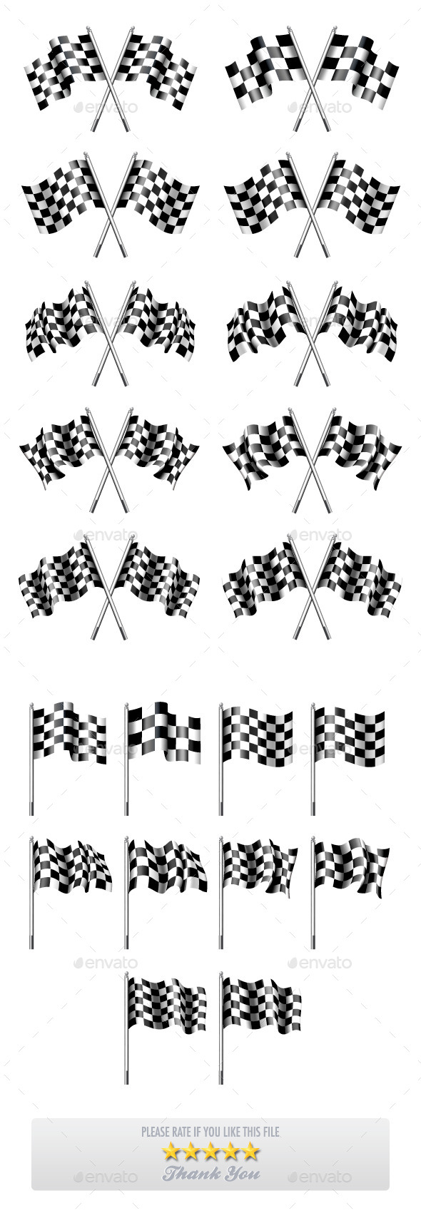 GraphicRiver 10 Versions of Chequered Flags 9990926