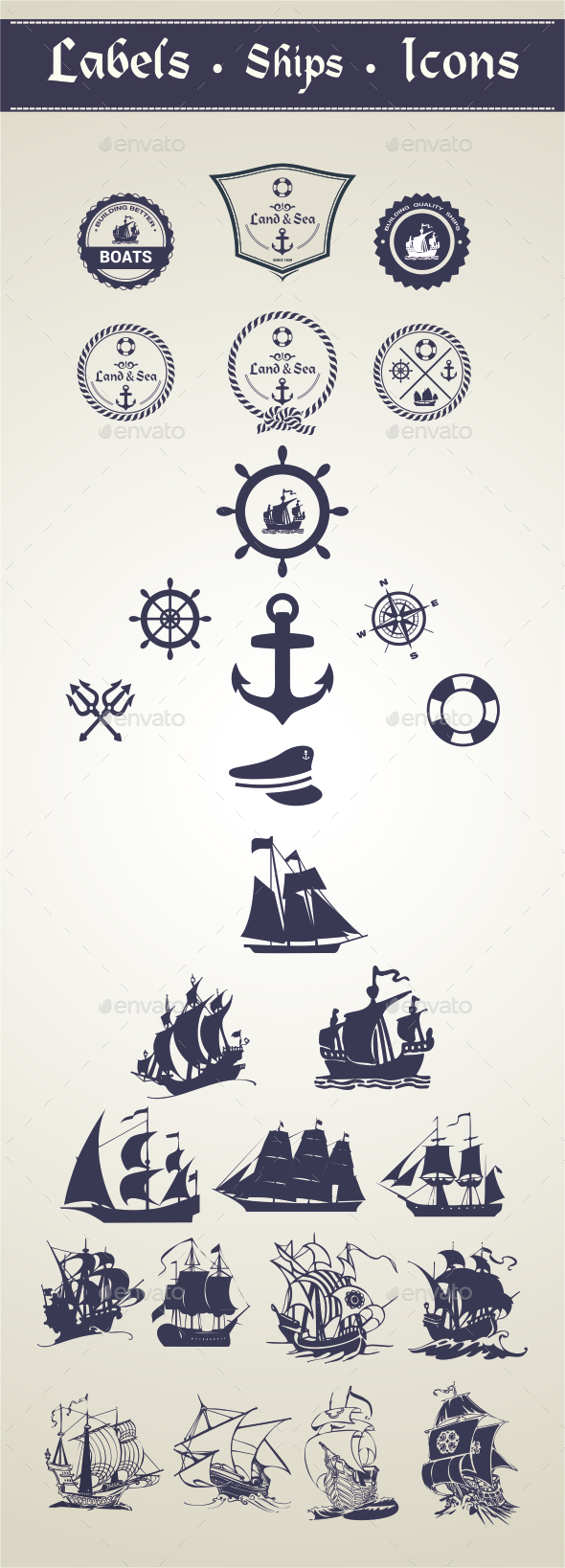 GraphicRiver Oceanic Label and Ships 9945595