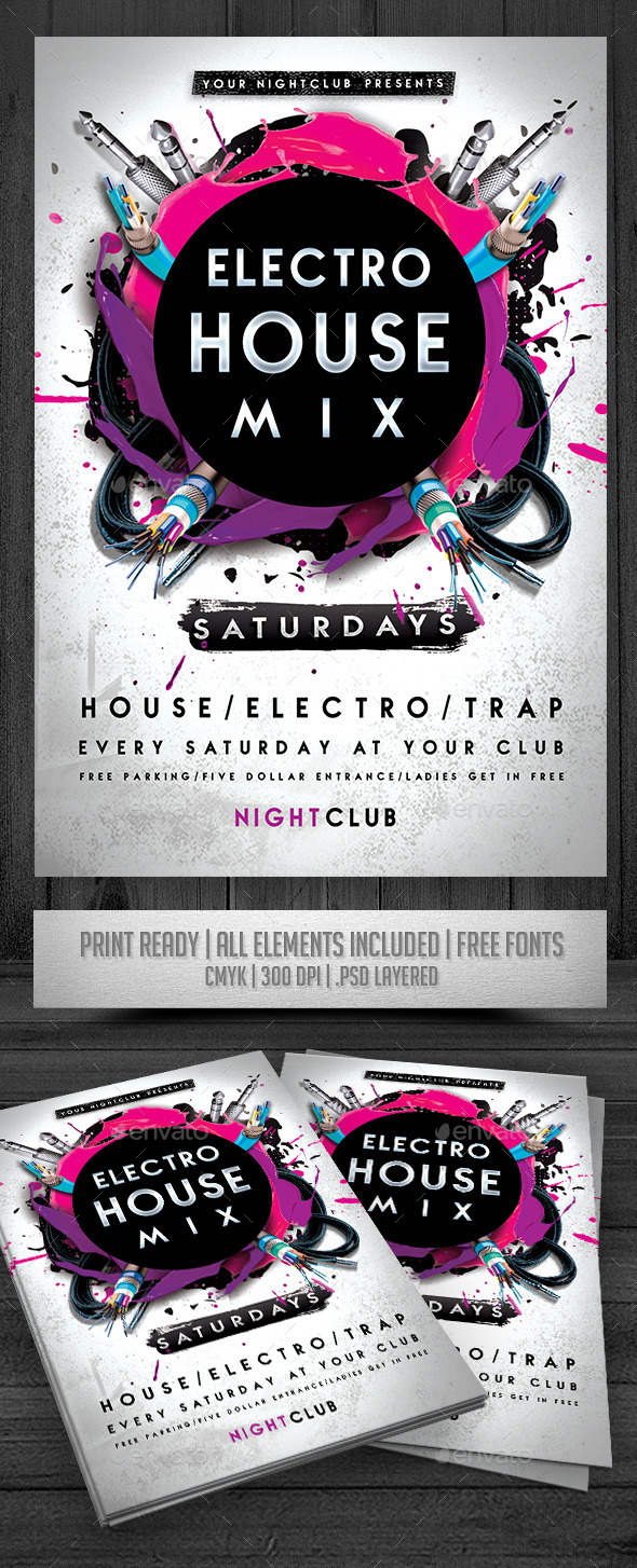 GraphicRiver Electro House Mix Flyer 9991506