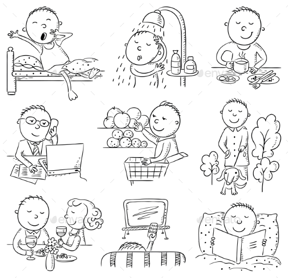GraphicRiver Cartoon Man Daily Activities 9991545
