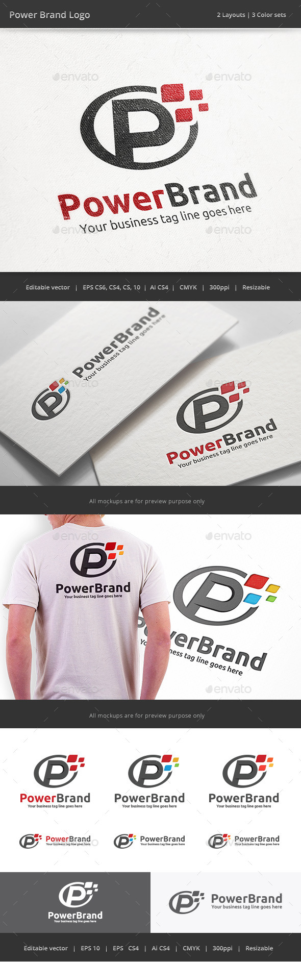 Power Brand Letter P Logo