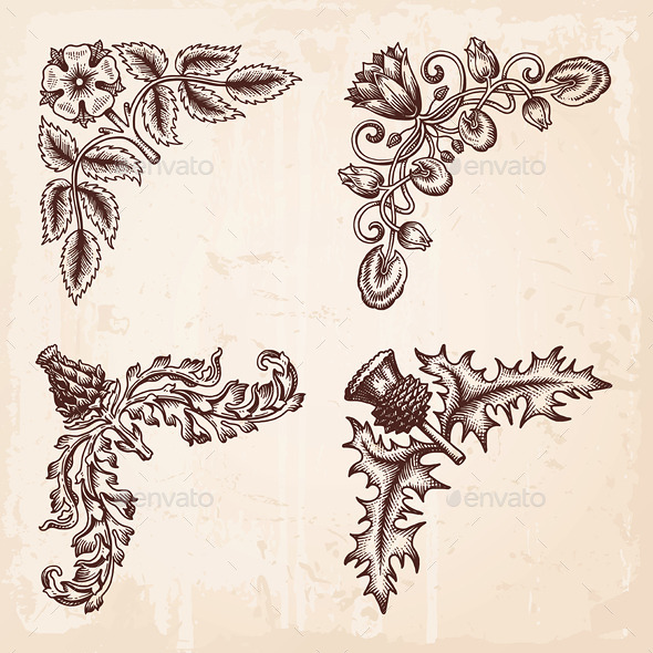 GraphicRiver Hand Drawn Vintage Design Elements Corners 9991559