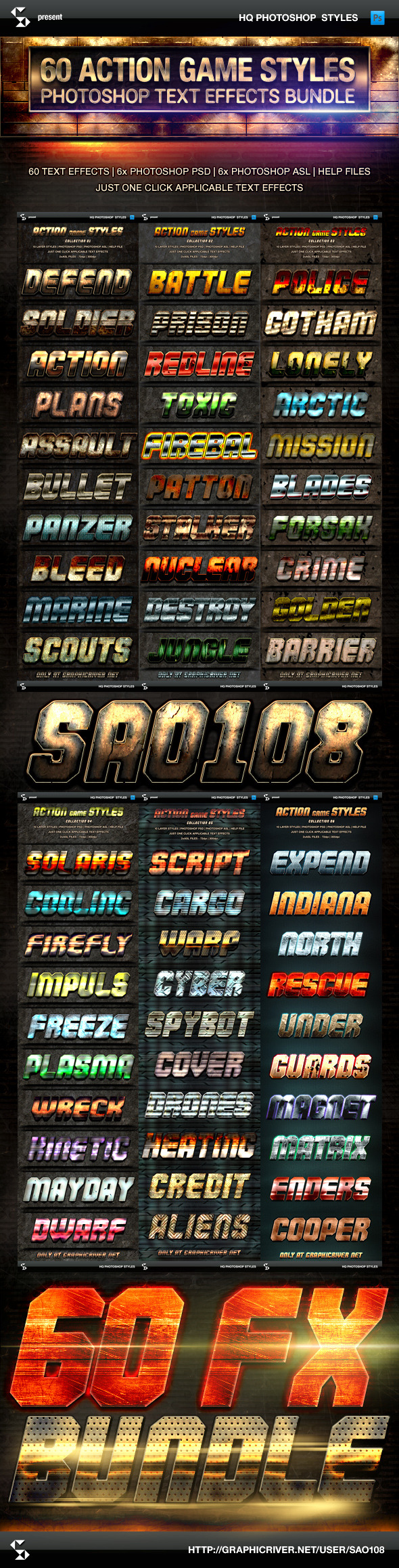 GraphicRiver Action Game Styles Bundle 60 Text Effects 9991575