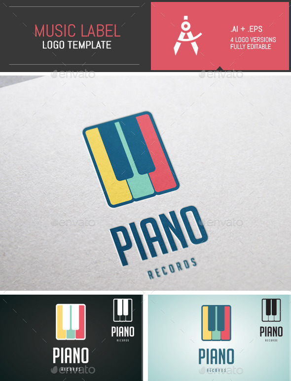 Colored Music Label Vector Logo Template