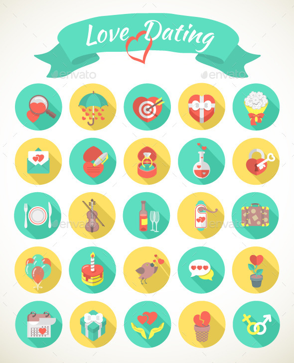 GraphicRiver Round Love and Dating Flat Icons with Long Shadows 9993031