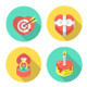 Round Love and Dating Flat Icons with Long Shadows - GraphicRiver Item for Sale