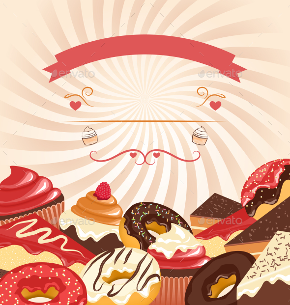 GraphicRiver Sweets with Radial Stripes on Beige Background 9993498
